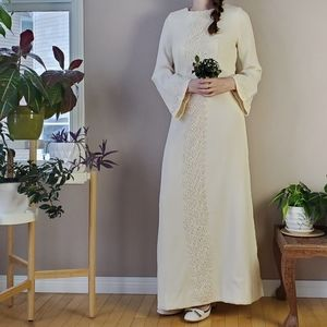 1960s handmade wedding dress with lace applique